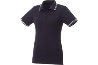 Elevate Womens/Ladies Fairfield Polo With Tipping (Navy/Grey Melange/White) (2XL)