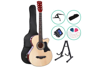 Alpha 38 Inch Wooden Acoustic Guitar Classical Folk Full Size w/ Bag Capo Tuner