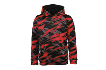 Champion Boys' Printed Performance Pullover Hoodie (Red/Black Zig Zag, Size M)