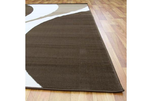 Funky Retro Pattern Rug Brown Beige Cream 280x190cm