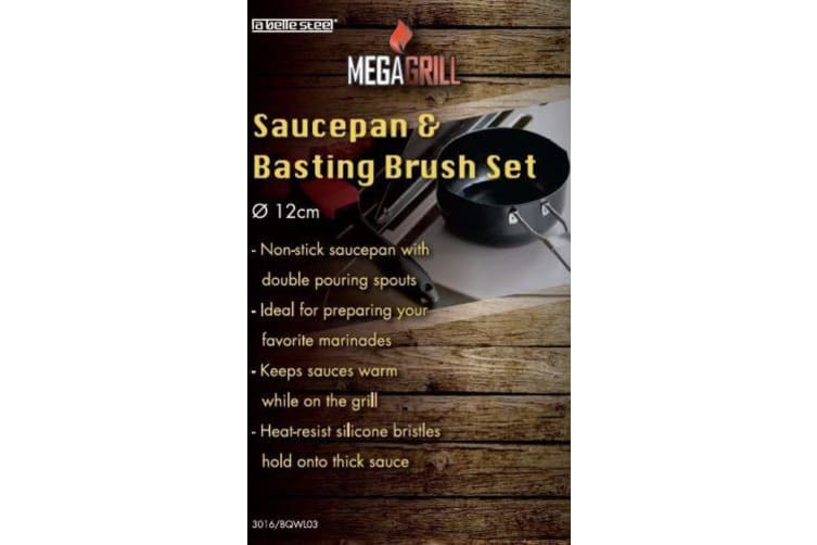 Non-stick Saucepan Pot Pan with Silicone Basting Brush Set BBQ Sauce Kitchen