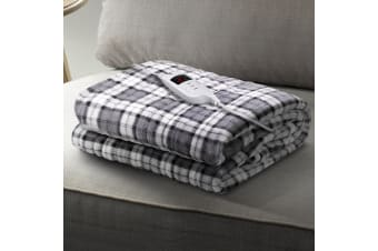 Giselle Bedding Washable Heated Electric Throw Rug Snuggle Blanket Flannel Grey