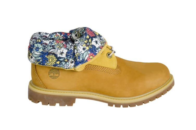 Timberland Women's Authentics Roll Top Boots (Wheat Nubuck Canvas Floral, Size 9 US)