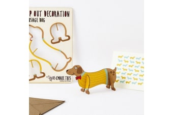 Pop Out Decoration Greeting Card - Sausage Dog