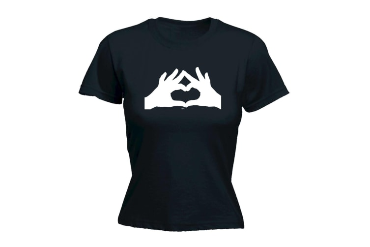 123T Funny Tee - Heart Hands - (Large Black Womens T Shirt)