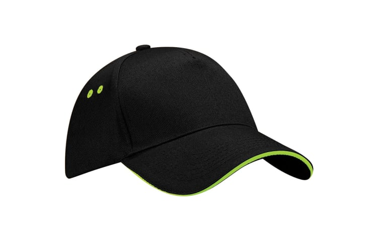 Beechfield Unisex Ultimate 5 Panel Contrast Baseball Cap With Sandwich Peak / Headwear (Black/Lime Green) (One Size)