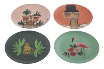 Bouffants & Broken Hearts Jungle Queen Bamboo Fibre Plates Set of 4 25x25x2cm