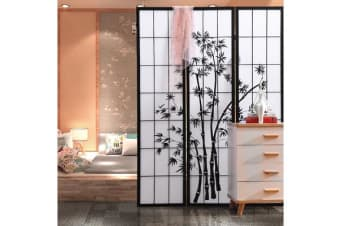 Bamboo Pattern Foldable Room Divider 3 Panel
