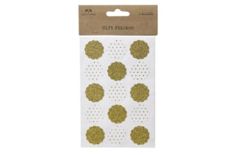 4 Sheet Round Shimmer Sticker Set (White/Gold) (19 x 10.5cm)