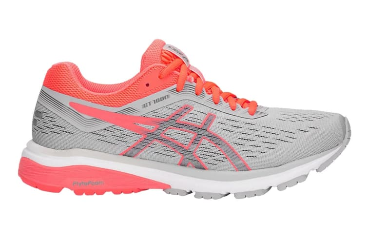 ASICS Women's GT-1000 7 Running Shoe (Mid Grey/Flash Coral, Size 8)