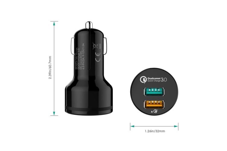 AUKEY QC3.0 Dual USB Port Car Charger Quick Charge Charging Power Adapter NEW