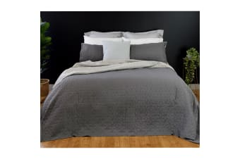 Nottingham Coverlet Set Queen/ King Charcoal/ Silver by Ardor