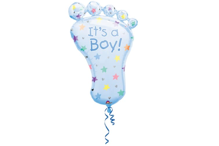 Amscan Supershape Baby Foot Shaped Its A Boy/Girl Foil Balloon (Blue) (One Size)