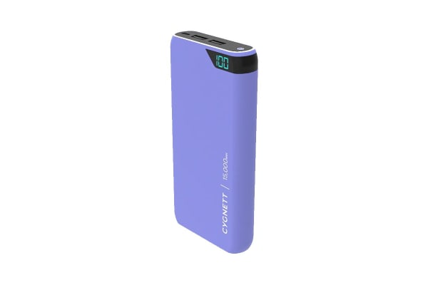 Cygnett ChargeUp Boost 15,000 mAh Dual USB 2.4A Power Bank - Lilac (CY2510PBCHE)