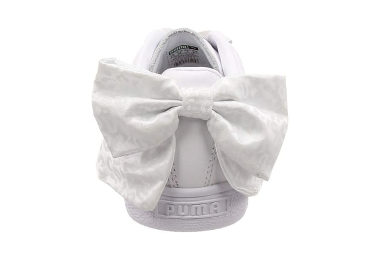 PUMA Women's Basket Bow Animal Shoe (White/Aged Silver, Size 6)