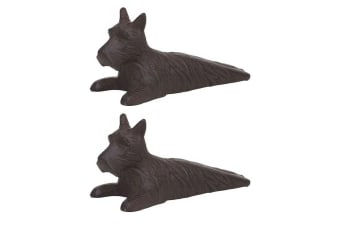 2x Amalfi Scotty Dog Door Stop Stopper Holder Handmade Home Decor Cast Iron BRW
