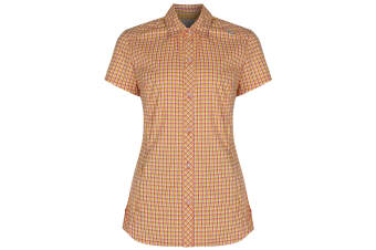 Regatta Great Outdoors Womens/Ladies Honshu Grid Check Short Sleeve Shirt (Coral Blush)