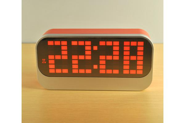 Rechargeable Led Digital Alarm Clock Large Display Portable Battery Powered Red
