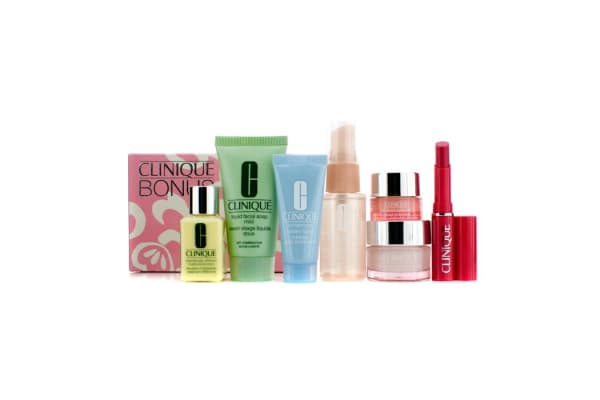 Clinique Travel Set: Liquid Soap + Face Spray + DDML + Turnaround Mask + Moisture Surge + Eye Cream + Lipstick (Flirty Honey) (7pcs)