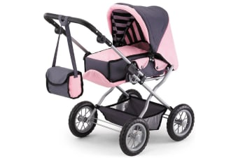 Bayer Combi Grande Doll Pram in Pink and Charcoal