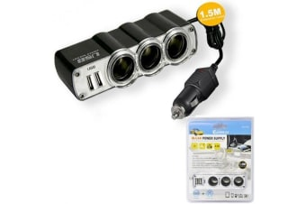 Sansai Car Lighter Socket Adaptor 3 outlet  1.5m with Twin USB Socket 5V 2.1A