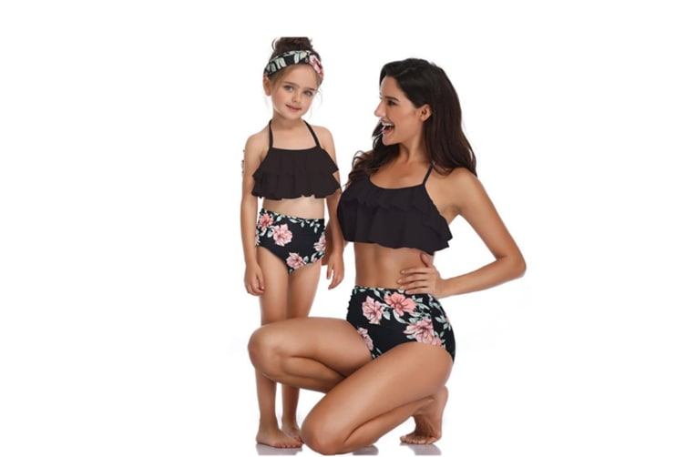 High Waisted Bathing Suit Mommy And Daughter Swimwear Bikini Sets - 5 128