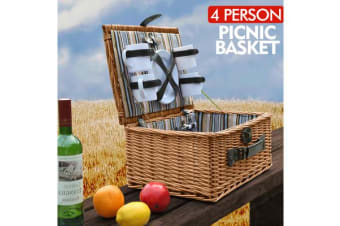 Wicker 4 Person Picnic Basket with Folding Handle BA2011