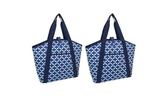 2PK Sachi 48cm Insulated Thermal Cooler Shopping Bag Carry Picnic Moroccan Navy