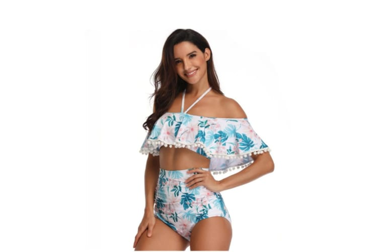 Floral Print High Waisted Bathing Suit Mommy And Daughter Swimwear Bikini Sets M