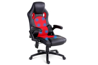 8 Point Massage Racer PU Leather Office Chair (Black/Red)