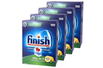 400PK Finish Tabs All in 1 Lemon Tablets Powerball Super Charged for Dishwasher