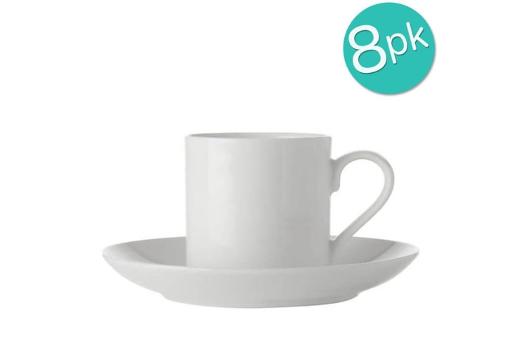 8PK Maxwell & Williams White Basics Straight Demi Cup and Saucer 100ml Porcelain