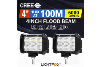 LIGHTFOX 2X 4inch CREE LED Work Light Flood Driving Lamp Offroad 4WD Reverse