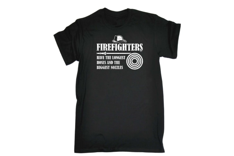 123T Funny Tee - Firefighters Have The Longest Hoses - (XX-Large Black Mens T Shirt)