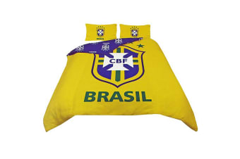 Brazil Football Official Reversible Duvet Cover Bedding Set (Single And Double) (Yellow/Blue) (Double)
