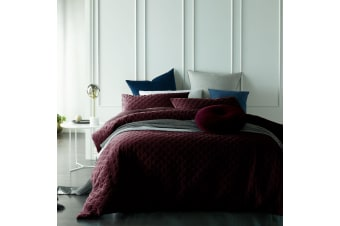 Cotton Velvet Diamond Quilted Quilt Cover Set Glazed Ruby Queen