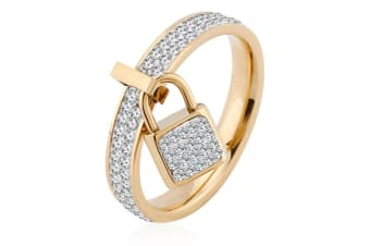 Glimmer Lock Ring-Gold/Clear Size US 6