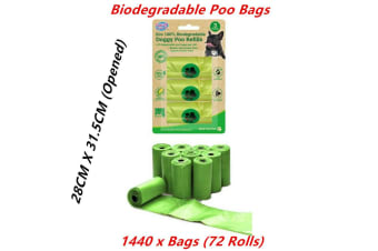 1440 x Biodegradable Dog Poo Bags Eco Refill Roll Pet No Leak Disposable Waste Green
