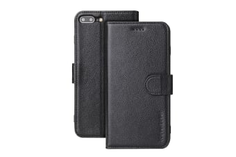 For iPhone 8 PLUS 7 PLUS Cover iCoverLover Genuine Leather Wallet Case Black