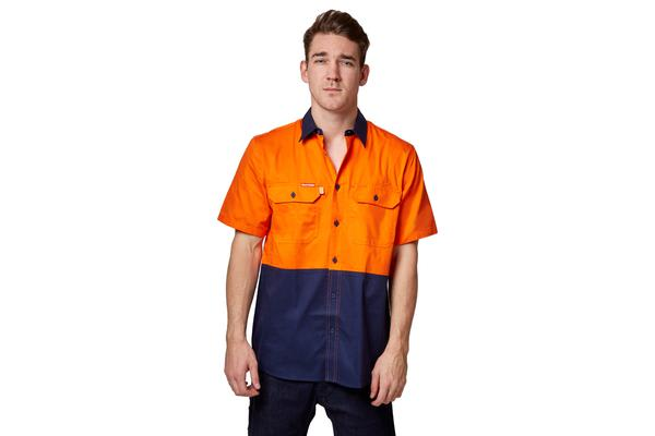 Hard Yakka Koolgear Ventilated Short Sleeve High-Vis Shirt (Orange/Navy, Size S)
