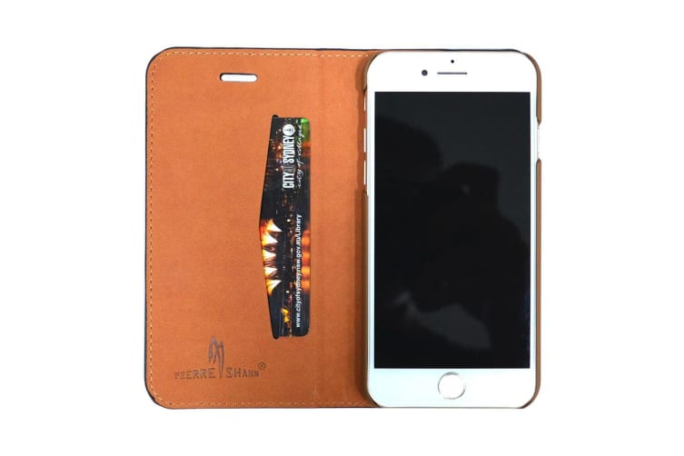 For iPhone 8 7 Wallet Case Stylish Fierre Shann Copper Coin Leather Cover Brown