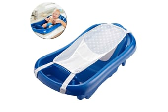 The First Years Newborn to Toddler Bath Tub w/ Sling Baby/Infant Bathing Blue