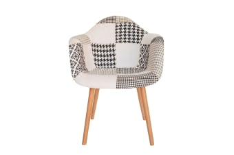 Replica Eames DAW Hal Inspired Chair | Multicoloured Patches V3 Fabric Seat | Natural Beech Legs