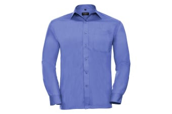 Russell Collection Mens Long Sleeve Shirt (Corporate Blue)