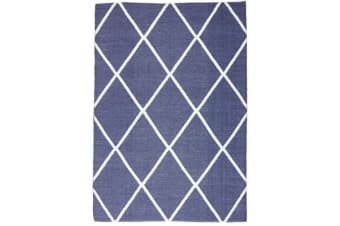 Coastal Indoor Out door Rug Diamond Navy White 220x150cm