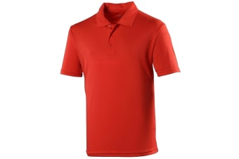 Just Cool Mens Plain Sports Polo Shirt (Fire Red)