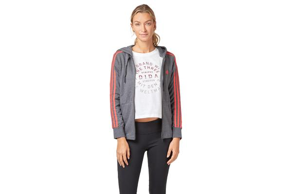 timeless design f3fec 642e2 Adidas Women s Essentials 3 Stripes Hoodie (Dark grey heather real coral,  Size S) - Kogan.com