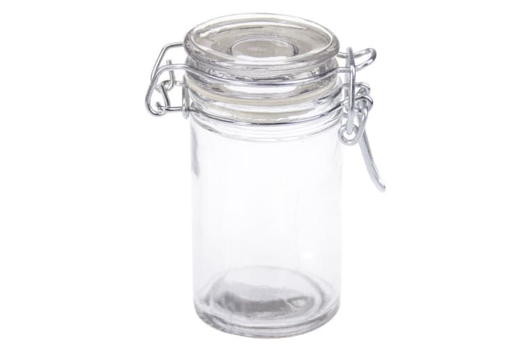 16x Spice Mini Glass Jar Silver Clip Lid Bottle Jam Container Storage Jars 70ml