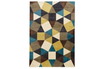 Modern Pixels Rug Blue Green Brown 160x110cm