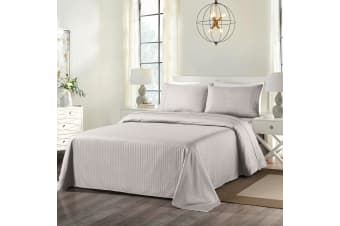 Royal Comfort Cooling Bamboo Blend Sheet Set Striped 1000 Thread Count Pure Soft - King - Silver Grey